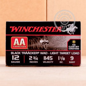"Picture of 12 GAUGE WINCHESTER AA BLACK TRAACKER LIGHT TARGET LOAD 2 3/4"" 1 1/8 OZ. #9 SHOT (25 ROUNDS)"
