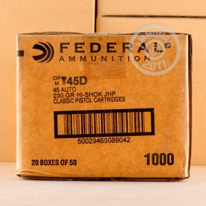 Picture of .45 ACP FEDERAL CLASSIC 230 GRAIN JHP (1000 ROUNDS)