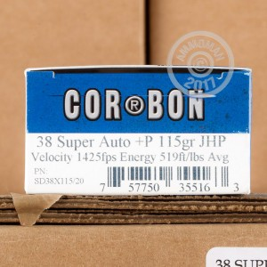 Picture of 38 SUPER +P CORBON 115 GRAIN JHP (20 ROUNDS)