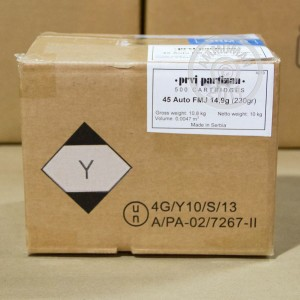 Picture of .45 ACP PRVI PARTIZAN 230 GRAIN FULL METAL JACKET (1000 ROUNDS)
