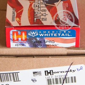 Picture of .30-06 SPRINGFIELD HORNADY AMERICAN WHITETAIL 150 GRAIN SP (20 ROUNDS)
