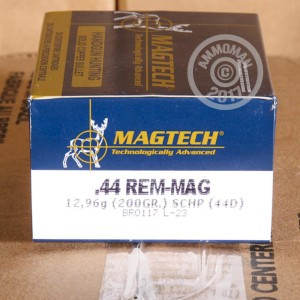 A photograph of 20 rounds of 200 grain 44 Remington Magnum ammo with a JHP bullet for sale.