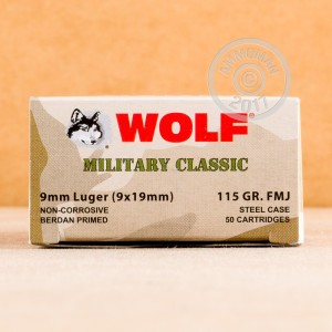 Picture of 9MM LUGER WOLF WPA MILITARY CLASSIC 115 GRAIN FMJ (50 ROUNDS)