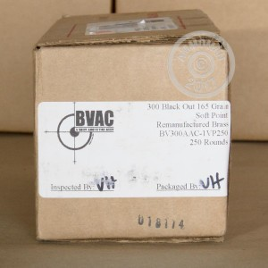 A photograph of 250 rounds of 165 grain 300 AAC Blackout ammo with a soft point bullet for sale.