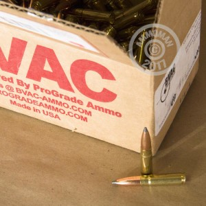 A photograph detailing the 300 AAC Blackout ammo with soft point bullets made by BVAC.