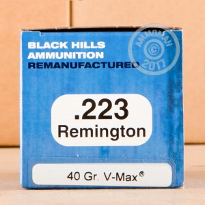 Picture of 223 REMINGTON BLACK HILLS REMANUFACTURED V-MAX 40 GRAIN POLYMER TIP (50 ROUNDS)