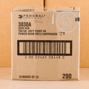 A photograph of 200 rounds of 150 grain 30-30 Winchester ammo with a flat soft point bullet for sale.