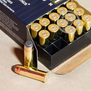A photograph detailing the 44 Remington Magnum ammo with Semi-Jacketed Soft-Point (SJSP) bullets made by Fiocchi.