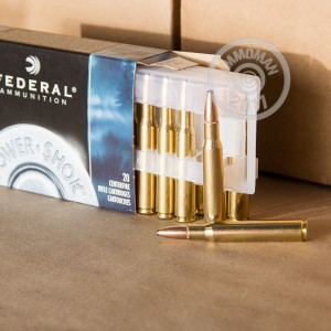 Image of 30.06 Springfield ammo by Federal that's ideal for big game hunting, whitetail hunting.
