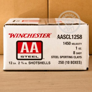 """Picture of 12 GAUGE WINCHESTER AA STEEL SPORTING CLAY 2-3/4"""" 1 OZ. #8 SHOT (25 ROUNDS)"""