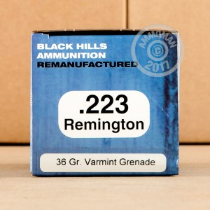 Picture of 223 REMINGTON BLACK HILLS REMANUFACTURED 36 GRAIN HP VARMINT GRENADE (50 ROUNDS)