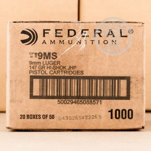 Picture of 9MM FEDERAL 147 GRAIN HI-SHOK JACKETED HOLLOW POINT (1000 ROUNDS)