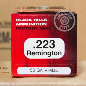 Picture of 223 REMINGTON BLACK HILLS 50 GRAIN V-MAX POLYMER TIP (50 ROUNDS)
