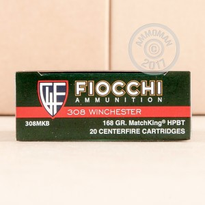 Picture of 308 WINCHESTER FIOCCHI 168 GRAIN SIERRA MATCHKING HPBT (20 ROUNDS)