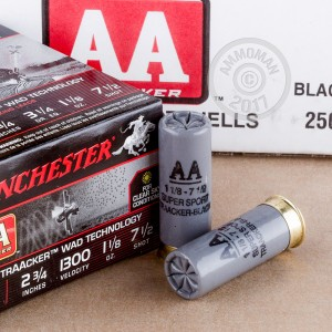 "Picture of 12 GAUGE WINCHESTER AA TRAACKER BLACK WAD 2-3/4"" 1-1/8 OZ. #7.5 SHOT (25 ROUNDS)"