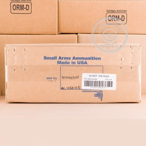A photo of a box of Armscor ammo in .45 Automatic.
