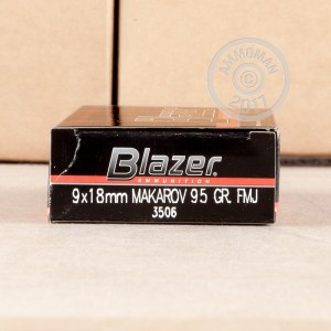 Image of 9x18 Makarov ammo by Blazer that's ideal for training at the range.