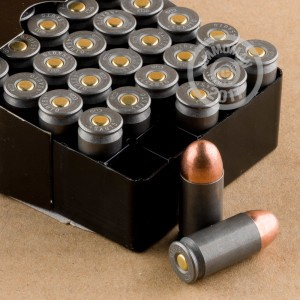 A photograph detailing the .45 Automatic ammo with FMJ bullets made by Wolf.