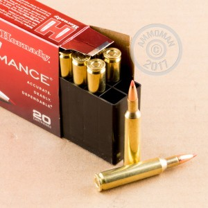 An image of 6mm Remington ammo made by Hornady at AmmoMan.com.