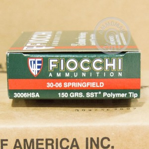 A photo of a box of Fiocchi ammo in 30.06 Springfield.