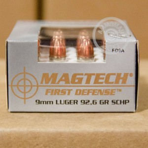 Photo of 9mm Luger JHP ammo by Magtech for sale at AmmoMan.com.
