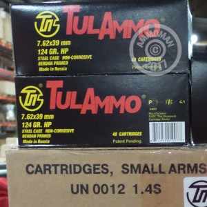 Picture of 7.62x39MM TULA AMMO 124 GRAIN HOLLOW POINT (40 ROUNDS)