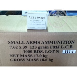 Picture of WOLF WHITE BOX 7.62x39 MILITARY GRADE AMMO 124 GRAIN FMJ (1000 ROUNDS)