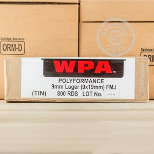Picture of 9MM WOLF 115 GRAIN FULL METAL JACKET IN SEALED CANS (800 ROUNDS)