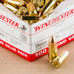 Picture of 9MM LUGER WINCHESTER VALUE PACK 115 GRAIN FMJ (100 ROUNDS)