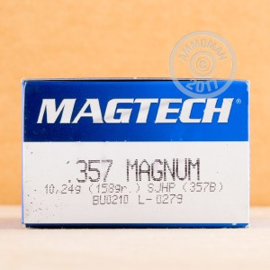 Image of 357 Magnum ammo by Magtech that's ideal for home protection, training at the range.