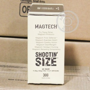 Image of bulk .40 Smith & Wesson ammo by Magtech that's ideal for training at the range.
