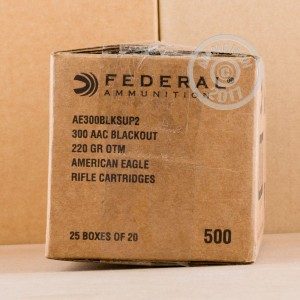 Picture of 300 AAC BLACKOUT FEDERAL AMERICAN EAGLE 220 GRAIN OTM SUBSONIC (500 ROUNDS)