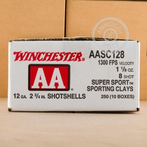 """Picture of 12 GAUGE WINCHESTER AA SUPER SPORT SPORTING CLAYS 2-3/4"""" 1-1/8 OZ. #8 SHOT (25 ROUNDS)"""