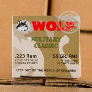 Picture of 223 REMINGTON WOLF WPA MILITARY CLASSIC 55 GRAIN FMJ (20 ROUNDS)