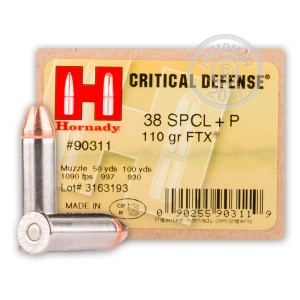 Picture of 38 SPECIAL +P HORNADY CRITICAL DEFENSE 110 GRAIN FTX (250 ROUNDS)