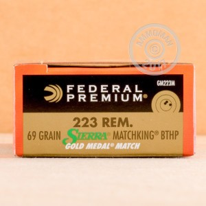 A photograph detailing the 223 Remington ammo with Hollow-Point Boat Tail (HP-BT) bullets made by Federal.