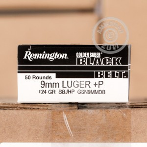 Picture of 9MM LUGER +P REMINGTON GOLDEN SABER BLACK BELT 124 GRAIN JHP (500 ROUNDS)