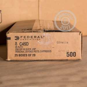 Picture of .45 ACP FEDERAL PERSONAL DEFENSE 230 GRAIN JHP (500 ROUNDS)