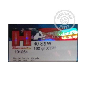 Picture of .40 S&W HORNADY AMERICAN GUNNER 180 GRAIN JHP (20 ROUNDS)