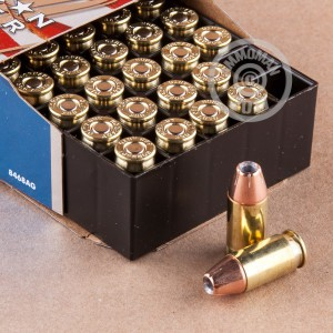An image of .380 Auto ammo made by Hornady at AmmoMan.com.