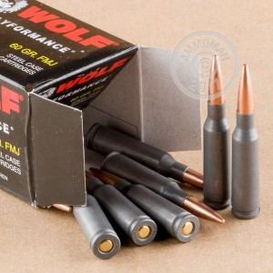 A photograph detailing the bulk 5.45 x 39 Russian ammo with FMJ bullets made by Wolf.