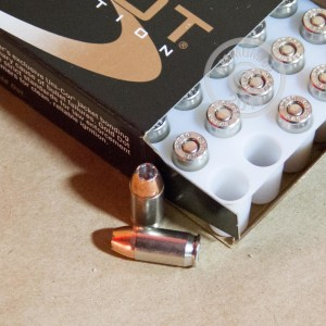 A photograph detailing the .380 Auto ammo with JHP bullets made by Speer.