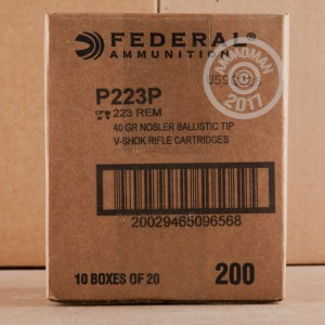 Picture of 223 REM FEDERAL PREMIUM V-SHOK 40 GRAIN NOSLER BALLISTIC TIP (20 ROUNDS)