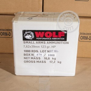 Picture of 7.62X39MM WOLF 123 GRAIN UKRAINE JHP HOLLOW POINT (1000 ROUNDS)