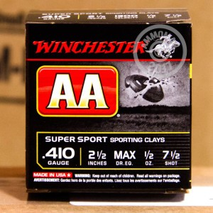 "Picture of 410 GAUGE WINCHESTER AA SUPER SPORT SPORTING CLAYS 2 1/2"" 1/2 OZ. #7.5 SHOT (25 ROUNDS)"