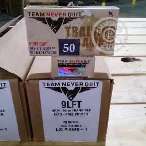Picture of 9MM LUGER TEAM NEVER QUIT 100 GRAIN FRANGIBLE (50 ROUNDS)