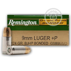 Picture of 9MM +P REMINGTON GOLDEN SABER BONDED 124 GRAIN JHP (50 ROUNDS)