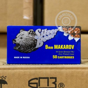 Picture of 9MM MAKAROV SILVER BEAR 94 GRAIN FULL METAL JACKET (1000 ROUNDS)