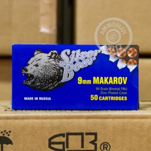 A photograph of 50 rounds of 94 grain 9x18 Makarov ammo with a FMJ bullet for sale.