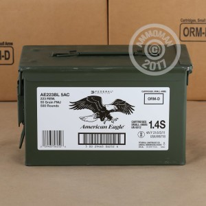 Picture of 223 REM FEDERAL AMERICAN EAGLE 55 GRAIN FMJBT (500 ROUNDS)